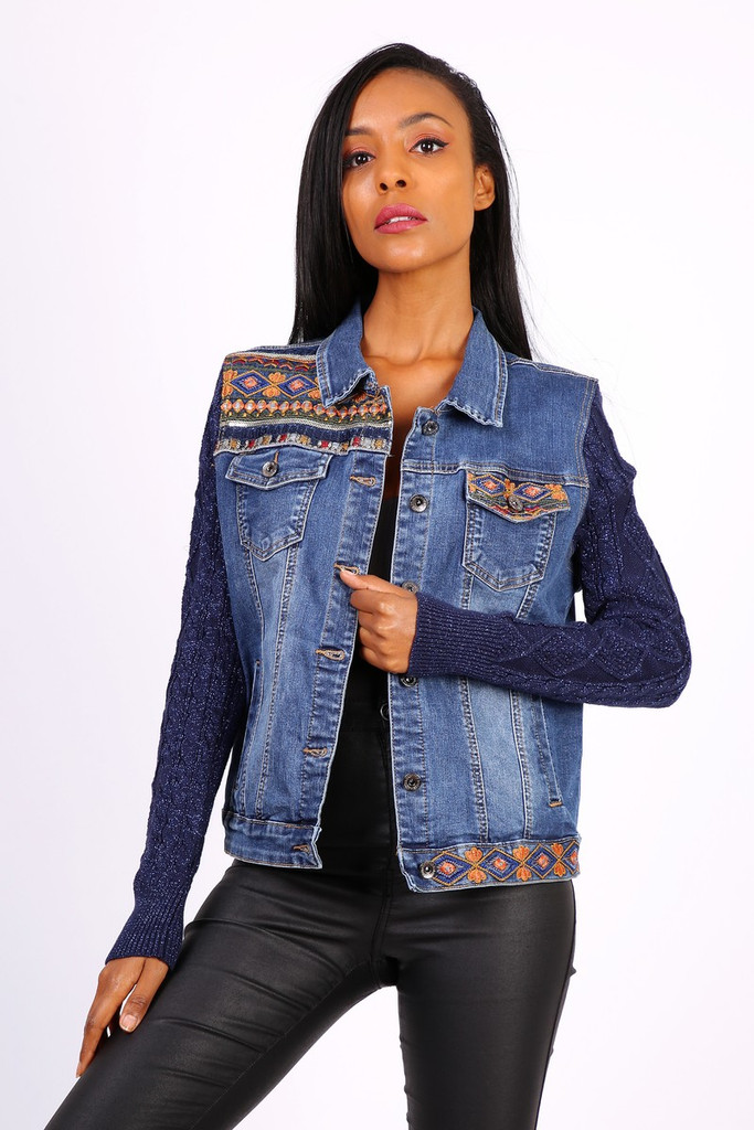 EMBROIDERED JEANS JACKET IN BLUE