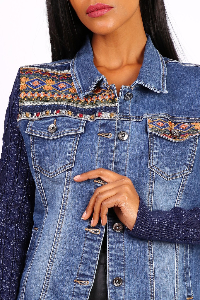 Embroidered Jeans Jacket with Knitted Sleeves in Blue