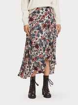 Floral print warp around midi skirt