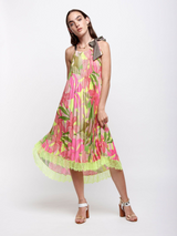 MIDI DRESS WITH FLUO TROPICAL PRINT