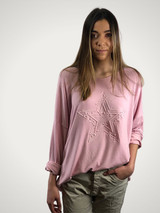 Angora Blend Sweater with Embossed Star