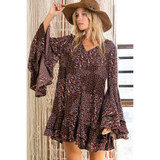 Floral Dress with Ruffle Sleeves and Hem