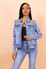 Embroidered Jeans Jacket with Knitted Sleeves