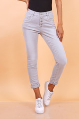 Slim Stretch Jeans with Buttons Grey
