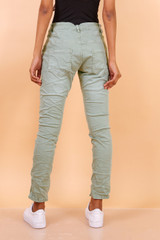 Slim Stretch Jeans with Buttons Khaki