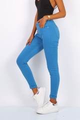 Cotton Jeans with Button Closure