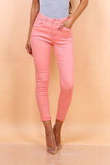 High Waist Skinny Salmon Jeans
