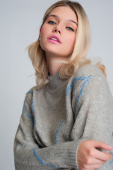 Knitted Sweater with Front Stripes