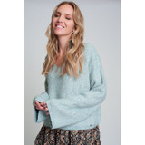 Wide Sleeve Sweater in Ribbed Knit