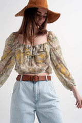 Long Sleeve Sheer Top with Shirred Waist and Tie Detail