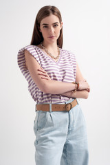 Sleeveless T-Shirt with Shoulder Pad in Stripes