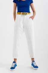 High Rise Mom Jeans with Pleat in White