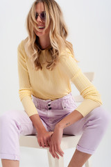Yellow Jumper with Shoulder Pads