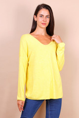 Angora Blend Fine Knitted  Sweater in Yellow