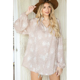 Smocked High Neck Flare Top