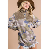 Camo Print Sweatshirt with Front Pocket Detail