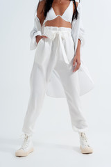 Lightweight Trousers with Tie Waist in White