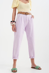 High Rise Mom Jeans with Pleat in Lilac