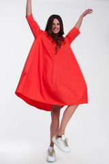 Oversize Shirt Dress in Coral