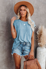 T-Shirt with Side Slits and Pockets in Aqua