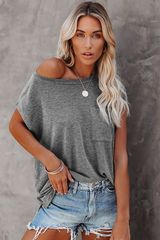 T-Shirt with Side Slits and Pockets in Grey