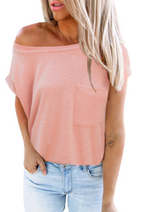 T-Shirt with Side Slits and Pockets in Rosé