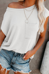 T-Shirt with Side Slits and Pockets in White