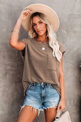 T-Shirt with Side Slits and Pockets jin Brown