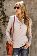 T-Shirt with Crochet Lace at Sleeves in Beige