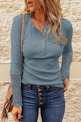 T-Shirt with Crochet Lace at Sleeves in Petrol Blue