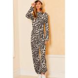 Leopard Print Jumpsuit with Mock Neck