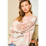 Tie Dye Sweater with Sleeve Detail in Coral
