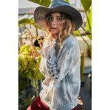 Tie Dye Sweater with Sleeve Detail in Grey