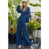 V Neck Jumpsuit with Bubble Sleeve