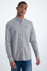 Blue Shirt with Woven Pattern