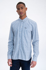 Blue Striped Shirt with Allover Print