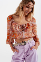 Long Sleeve Sheer Top with Shirred Waist and Tie Detail in Orange