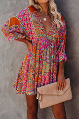 Bohemian Vintage Tunic with 3/4 Sleeves and V Neck