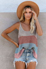 Knitted Camisole Tank Top in Stripes