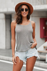 Knitted Camisole Tank Top in Grey