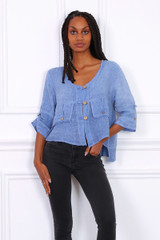 Linen Jacket with Detailed Pockets in Navy Blue