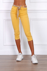 Capri Trousers with Tie Belt in Yellow