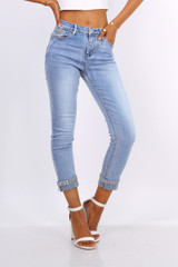 Jeans with Diamond Embellished Turn-Up
