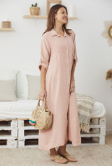 Linen Dress with Buttons and Roll up Sleeves in Pink
