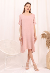 Casual Linen Dress with Pockets in Pink