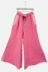Linen Culotte with Satin Waistband and Pockets in Pink