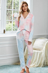 Tie Dye Long Sleeve and Trousers Lounge Set