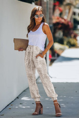 Snakeskin Print Joggers with Drawstring