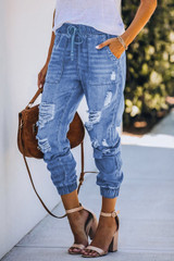 Distressed Denim Joggers with Pockets
