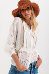 Embroidered Button Down Blouse in White